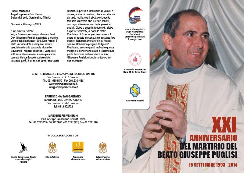 Pieghevole XXI Anniversario dell'uccisione del Beato Puglisi